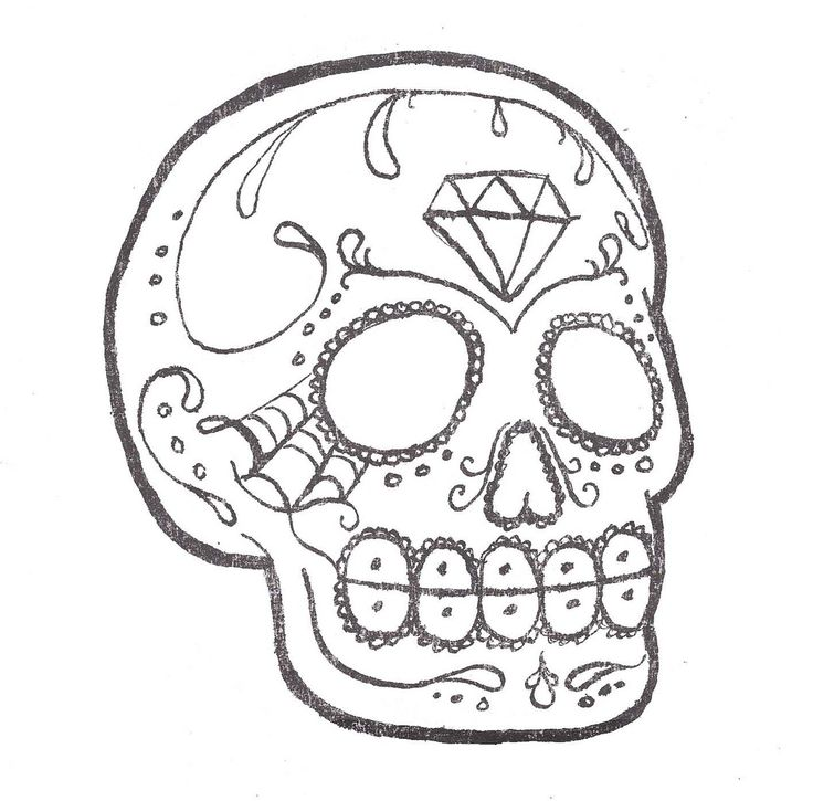 Sugar skull outline sugar skull tattoo a photo on for Cool drawings to trace