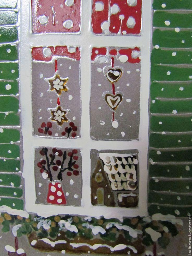 """Купить Светильник """"Рождественские окна"""" - комбинированный, белый, зима, сказка, уютно, голубой, красный, швеция"""