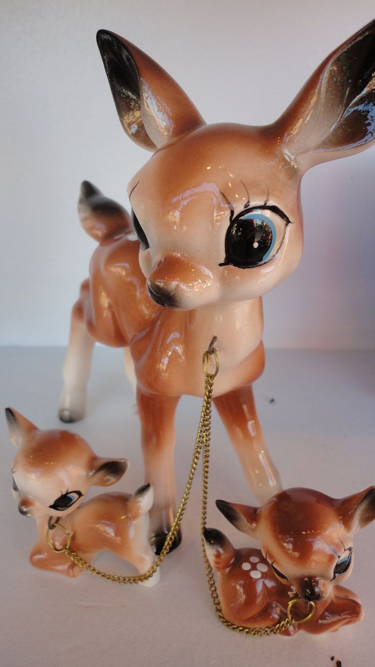 Classic kitsch cute 1950's/60's deer family! Two fawns attached to a doe with a chain.