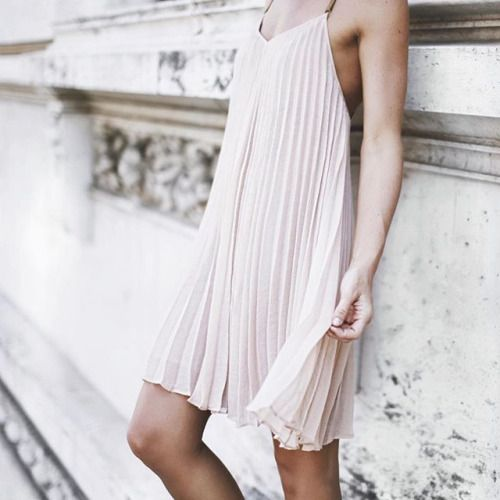 pale pink pleated dress. blush- the color of summer!