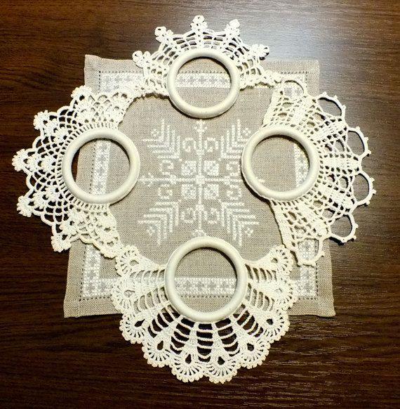 Napkin Holder Crochet Rings Set of 4 Table Decor by lalanart