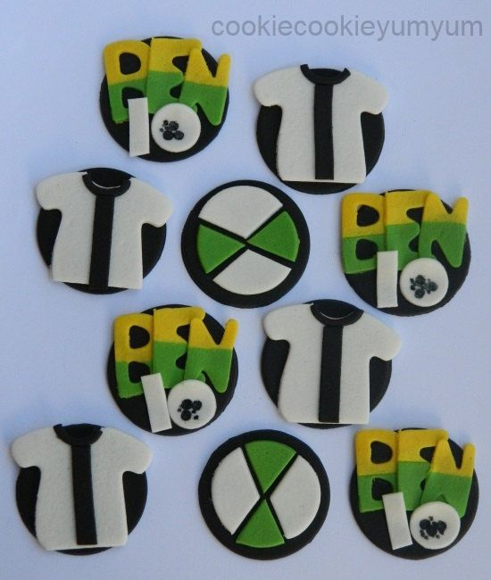 12 edible BEN 10 ALIEN character disc icing cake decorations cupcake topper decoration party wedding anniversary birthday engagement cookie by cookiecookieyumyum on Etsy
