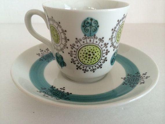 Rorstrand Sweden 'Puck' Pattern Cup Saucer / Mid Century Design $49.00 at VintageByBeth