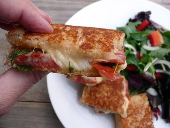 Herbed Pepperoni Grilled Cheese Sandwich on MyRecipeMagic.com