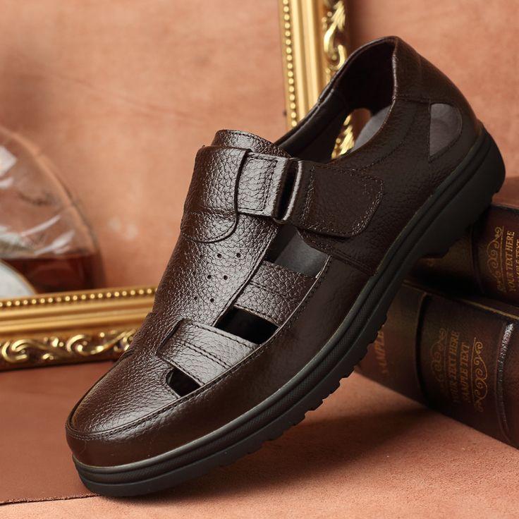 >> Click to Buy << 2017 italian genuine leather sandals for men closed toe sandals men's water sandal summer beach shoes sandalias romanas T051102 #Affiliate