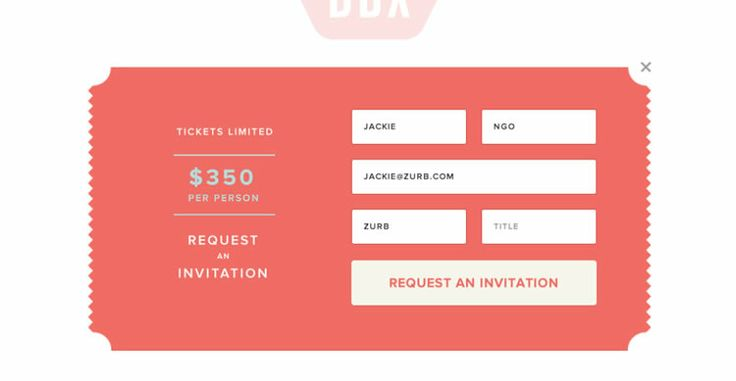 I rather like this cute ticket or postage style signup form from Dropbox.