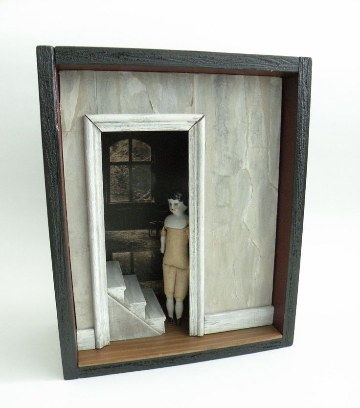 Curiosity Box, Antique doll, Shadow Box Cabinet, Assemblage - DOORWAY #2 Memento Mori by jennieshox on Etsy