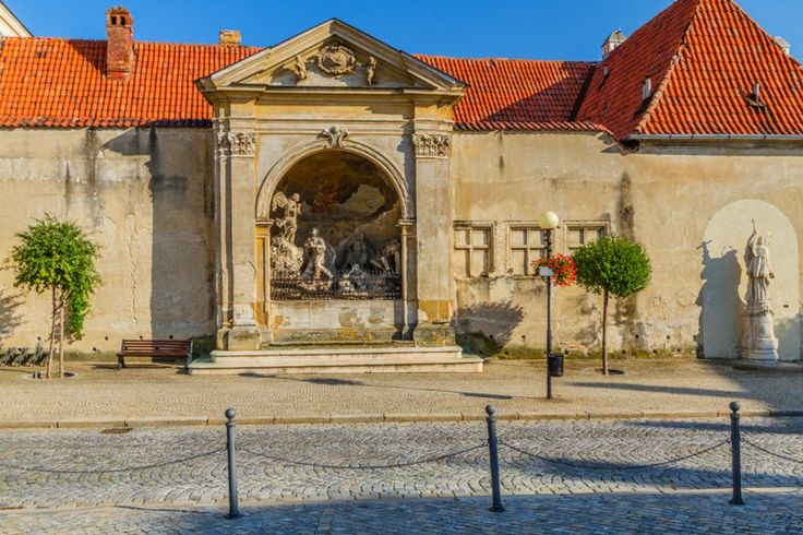 The sculpture in the Masaryk Square of Znojmo, Moravia, Czech Republic