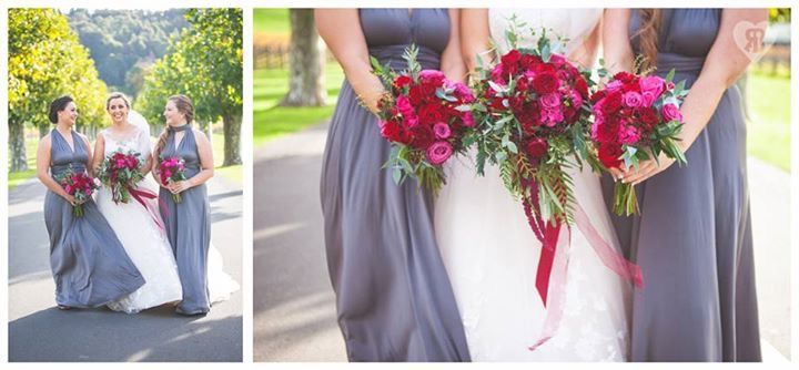 Bianca and James wedding day was a delicious tumble of rich red blooms and satin ribbon, blue gingham and bow ties, autumn colour and cute furry friends with thanks to Rei Bennett Photography. Gorgeous florals by Kerin Greville.
