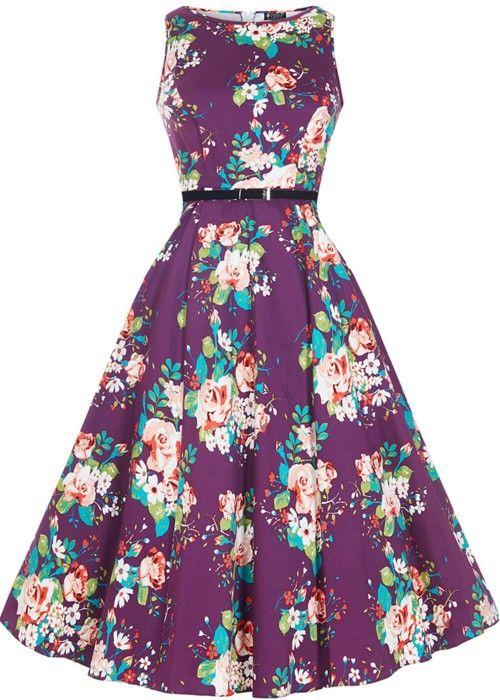 Lady V Hepburn Floral Bouquet Swing Kleid Violett