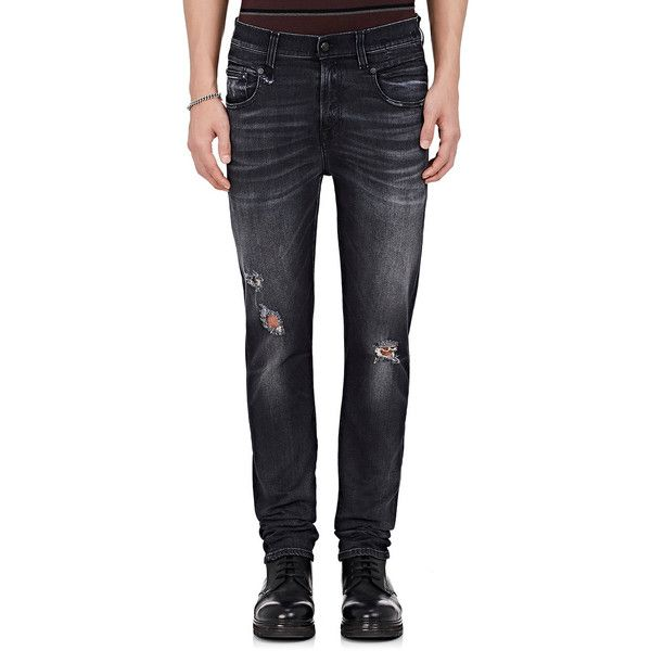 R13 Men's Boy Distressed Slim Jeans ($395) ❤ liked on Polyvore featuring men's fashion, men's clothing, men's jeans, grey, mens ripped jeans, mens distressed jeans, mens faded jeans, mens torn jeans and mens slim fit jeans