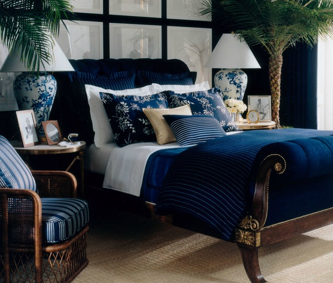 Ralph Lauren Blue, White & Gold Bedroom