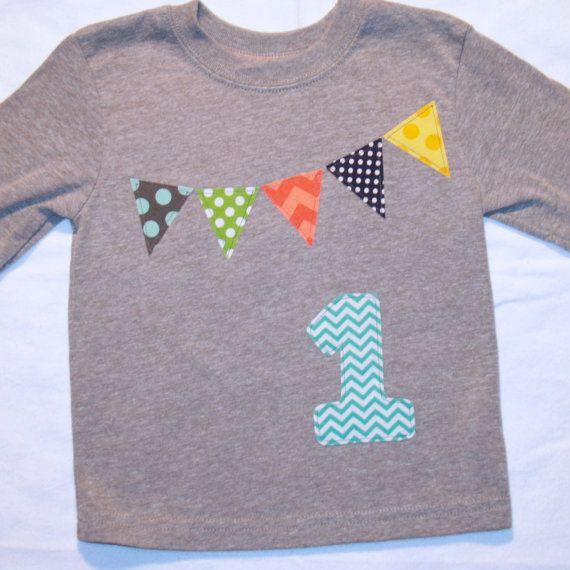Jungen 1. Geburtstag Wimpel Shirt Grau Aqua von ThePolkaDotTotSpot