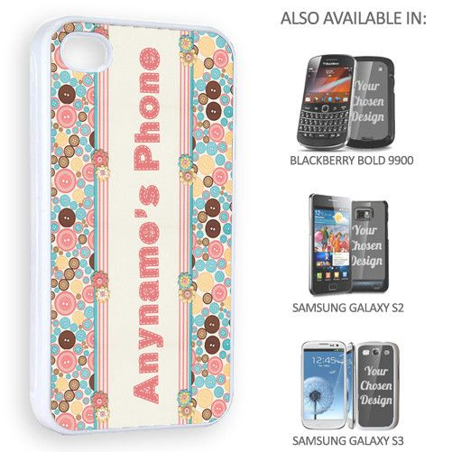 Cute phone case which can be personalised for a unique and unusual gift. Sewing Buttons Personalised Phone Cover - yourgifthouse