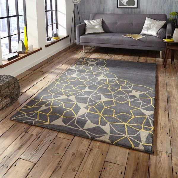 The Spectrum Rug Is Handmade In India With A Thick Soft Wool Pile This Stunning Geometric Web Design Features Grey Background Yellow Detailing