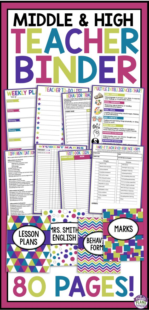 Teacher Binder For Middle & High School!  Includes 80 Pages of forms, spreadsheets, handouts, organizers & much more!