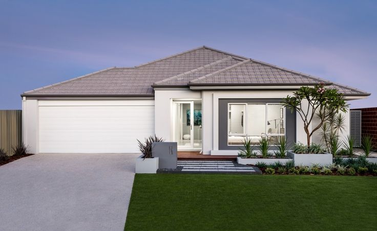 Contemporary elevation with rendered facade, stylish window with contrast render and tiled roof