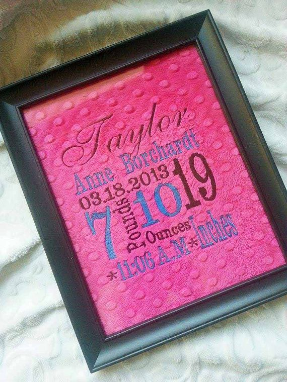 Birth announcement on minky for framing  8x10 by KnuffelStuff