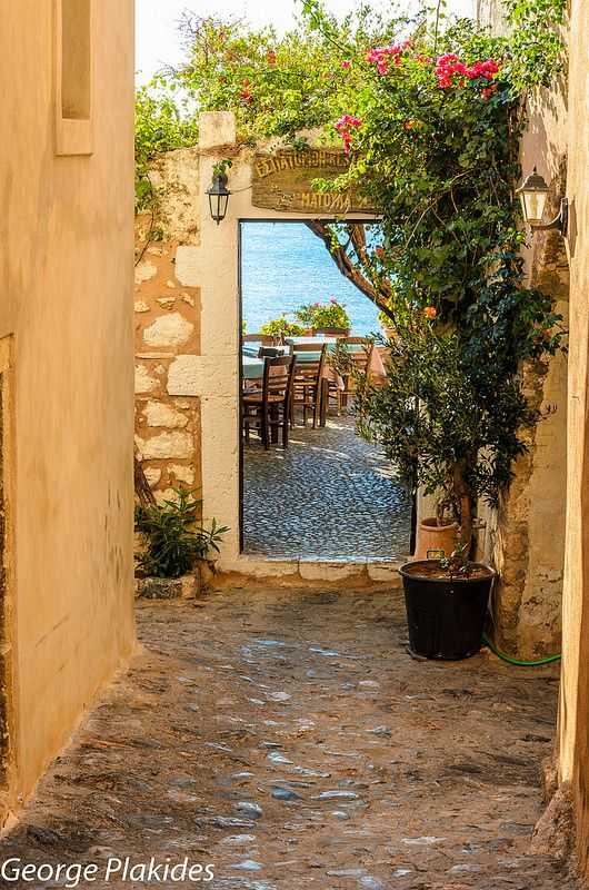 doorway to seaside eatery, Monemvasia, Greece