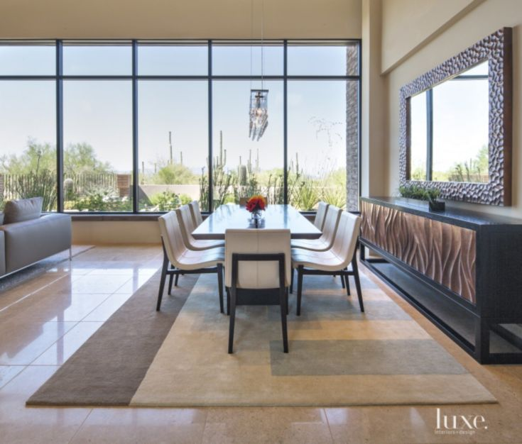 Contemporary Neutral Dining Room with Desert Views