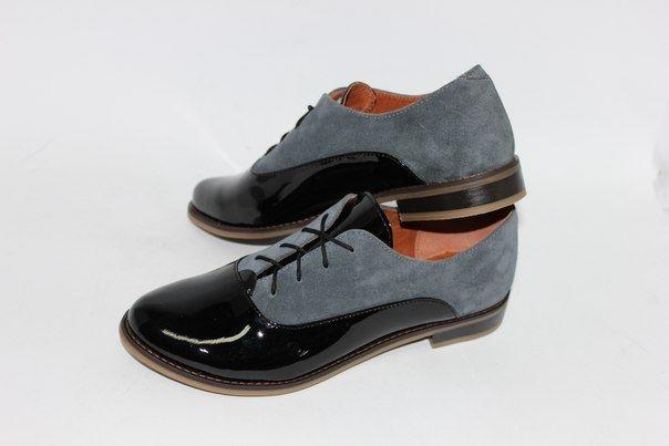 """Серо-черные комбинированные туфли """"оксфорды"""""""