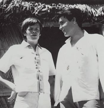 "Elvis with Peter Noone on set of ""Paradise Hawaiian Style"" 1966"