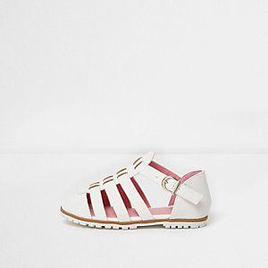 Mini - witte sandalen met textuur voor meisjes