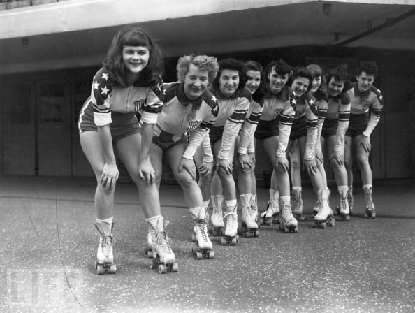I cannot handle how much gear they're not wearing. New York Chiefs Roller Derby Team, 1953. #vintage #1950s #roller_derby