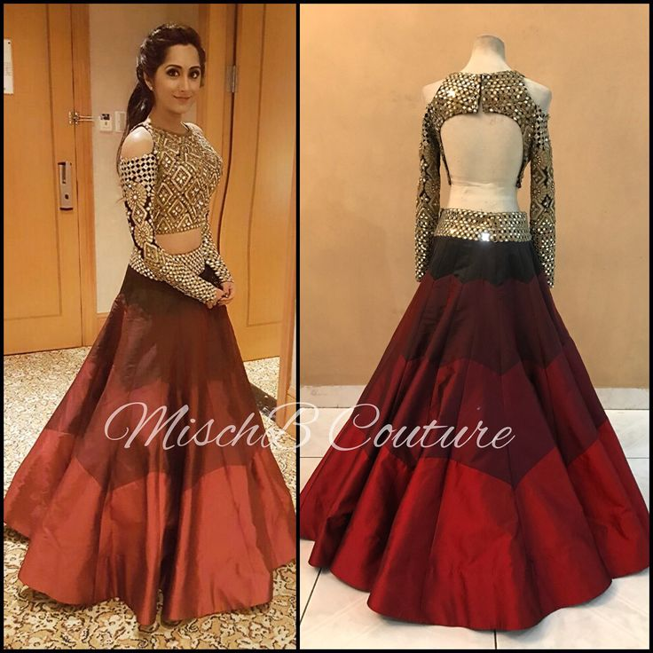 Mirrorwork lehenga by MischB Couture