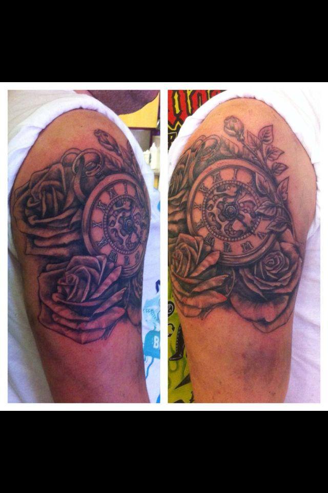 Watch Sleeve Tattoo: Pocket Watch And Roses Sleeve Tattoo