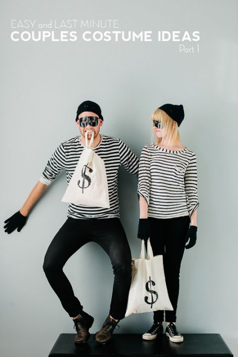 BANDITS: If you've got a closet full of hipster clothing, all you need is a mask to finish this costume. Grab some black skinny jeans, a black and white stripped top, and black beanie to make this look. See more fun Halloween couple costumes here!