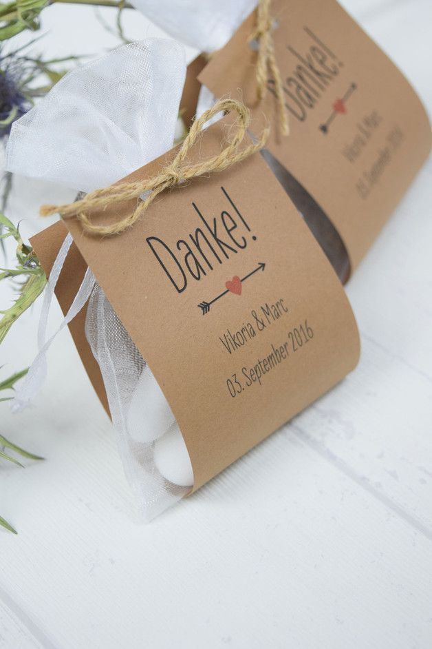 Gastgeschenke Hochzeitsgastgeschenk Danke Vintage Kraftpapier