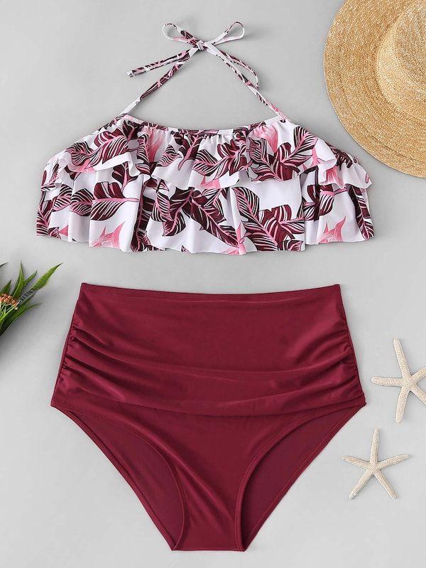 49919d612df Plus Tropical Flounce Top With High Waist Bikini -SHEIN(SHEINSIDE ...