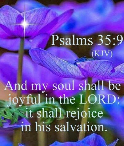 And my soul shall be joyful in the Lord;It shall rejoice in His salvation.-psalms 35:9