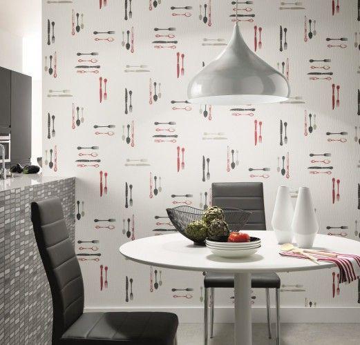 vliestapete erismann la maison 6878 10 687810 k che besteck wei braun grau k che. Black Bedroom Furniture Sets. Home Design Ideas