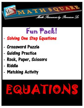 Solving one step equations bundle:Solving one step equations by inverse operations. This bundle includes a variety of activities that will keep your students engaged. All answer keys are included. This bundle includes the followings:Solving one-step equations - rock, paper, and scissorsSolving one-step equations - matching activitySolving one-step equations - guided practiceSolving one-step equations - Crossword PuzzleSolving one-step equations - word problems riddle