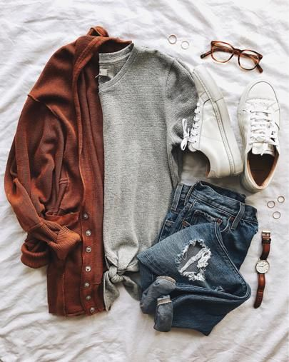 Cozy cardigan, tie front tee, distressed ankle jeans and classic white sneakers. Helloooo casual! @liketoknow.it http://liketk.it/2qNyt #liketkit