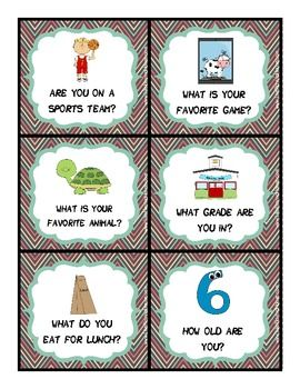 Free! Getting To Know You Kit for social skills...36 Personal question cards with visual stimuli, 6 Asking questions visual cue cards, 2 Reminder cards for conversational turn taking
