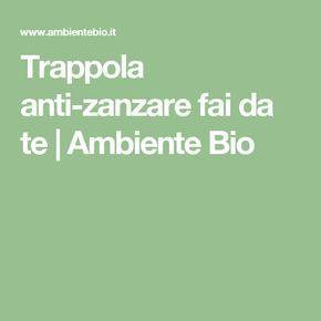 Trappola anti-zanzare fai da te   Ambiente Bio