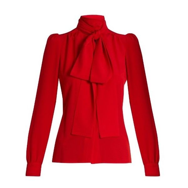 Sonia Rykiel Tie-neck silk blouse (£475) ❤ liked on Polyvore featuring tops, blouses, red, neck ties, loose blouse, red neck tie, high neck blouse and tie neck blouse