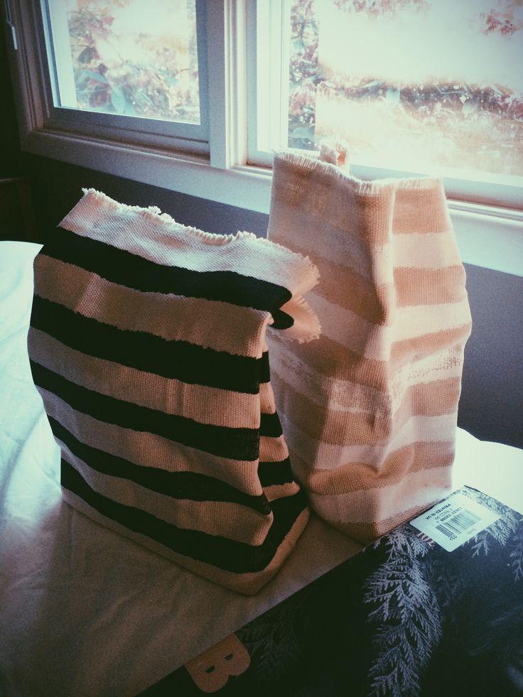 strips canvas lunchbag