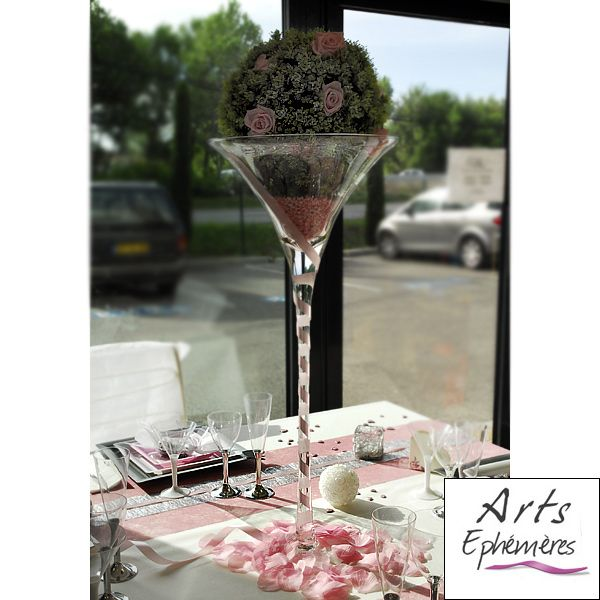 Table de mariage grise rose blanche blog de d co for Centre de table argent