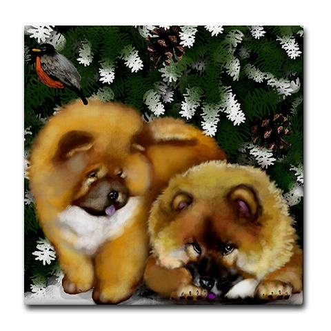 CHOW CHOW DOGS CHRISTMAS Ceramic Tile Coaster by CafePress. More great CHOW CHOW DOG designs in my shop on t-shirts, mugs, throw pillows, wall clocks, art prints, ceramic ornaments/keepsakes, wooden boxes, and more. Ceramic Tile Coaster Liven up any room or party with our fun, hip tile coasters, measuring 4.25 x 4.25 and 1/6-inch thick. Images are applied with a polyester resin that accepts dye as part of the coating. Four felt pads protect your furniture from scratches. Dish. Price: $12.50