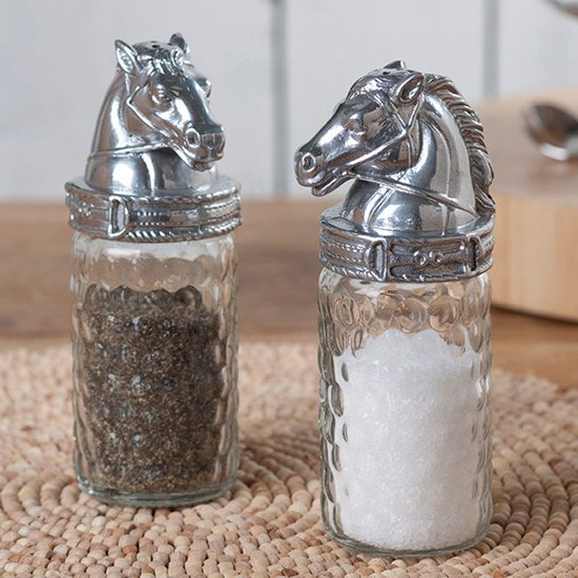 horse head salt and pepper shakers