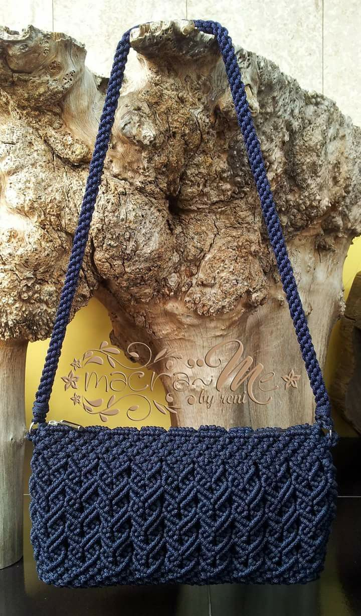 Macrame bag Pattern love Blue navy