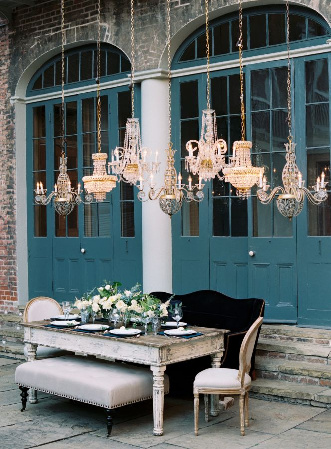Dreamy blue French quarters wedding: http://www.stylemepretty.com/2017/03/06/dreamy-new-orleans-inspiration-shoot/ Photography: Austin Gros - http://austingros.com/