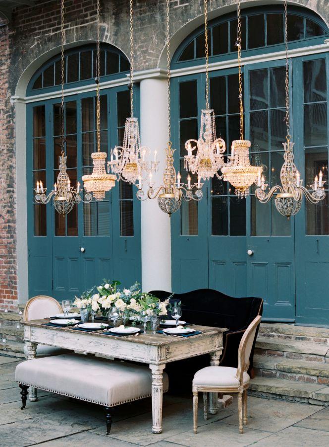 Dreamy blue French quarters wedding: http://www.stylemepretty.com/2017/03/06/dreamy-new-orleans-inspiration-shoot/ Photography: Austin Gros - http://austingros.com/