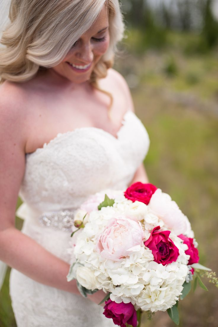 Taylor's bouquet was soft and romantic for her Breckenridge elopement #Breckenridge #Florist #Flowers #Wedding  Florals by Petal & Bean Breckenridge, CO