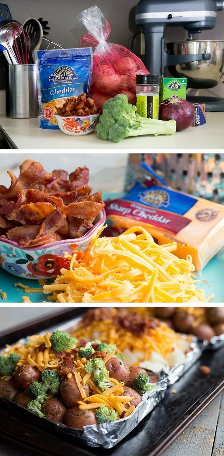 Cheesy Broccoli and Potato Packets: Foil wrapped new potatoes, fresh chopped broccoli bites, sharp cheddar cheese and bacon bits. You have to make these crazy-easy grilled potato bundles this summer. These foil wrapped potato packets are super simple and delicious. Perfect for camping or just a quick family dinner. #ad *Saving this for later!