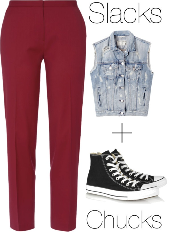 """Slacks + Chucks"" by michelleanned on Polyvore"